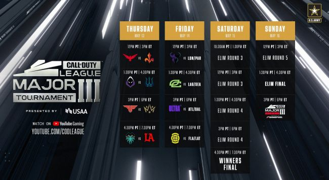 Call of Duty League reveals schedule for Stage III Major